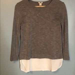 New J.Crew sweater with blouse at hem